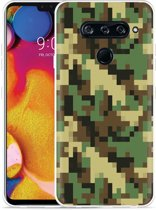 LG V40 Hoesje Pixel Camouflage Green