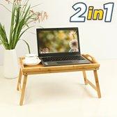 Luxe dienblad met uitklapbare pootjes - Bamboe hout - Ontbijt op bed tafelfje / beddienblad / Laptoptafel - Inklapbaar met poten - Decopatent®