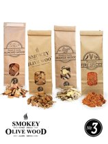 Smokey Olive Wood – 3x 500ml Houtsnippers + 300ml vuurkruiden - Olijfhout - Sinaasappelhout - Amandelhout- Rookchips groot ø 2cm-3cm