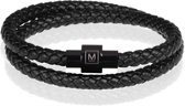 Memphis leren wrap armband Zwart-20cm