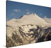 Zon beschijnt een gletsjer in het Nationaal park Hohe Tauern in Oostenrijk Canvas 140x90 cm - Foto print op Canvas schilderij (Wanddecoratie woonkamer / slaapkamer)