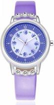 Paars Horloge - meisjes/ meiden - met schitterende steentjes - 30 mm - I-deLuxe verpakking
