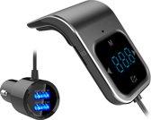 TKSTAR Aanraakknop FM Zender Bluetooth Handsfree Carkit MP3 Speler Dubbele USB Oplader | Zwart