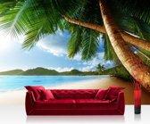 """Fotobehang """"Verlaten strand met palmbomen"""" vliesbehang 300x210cm"""