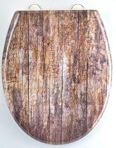 EISL WC-Bril ED69OWOOD - Thermoplastiek - Soft Close - Afklikbaar - RVS-Scharnieren - Decor -3-zijdige Print - Old Wood