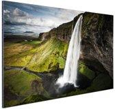 Seljalandsfoss waterval Aluminium 120x80 cm - Foto print op Aluminium (metaal wanddecoratie)