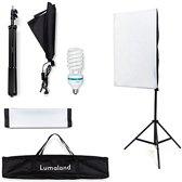 Lumaland - Studiolamp softbox incl. statief en draagtas - fotostudio set - 50x70 cm