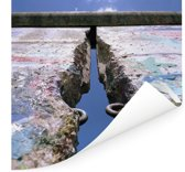 Scheur in de Berlijnse Muur Poster 100x100 cm - Foto print op Poster (wanddecoratie woonkamer / slaapkamer) / Europese steden Poster