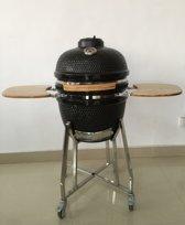Barbecue Kamado 19'' - 48cm Zwart inclusief regenhoes / pizza pan / chickensitter en diverse grill roosters