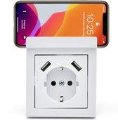 Homra usb stopcontact - Wit - Met telefoonhouder