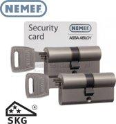 Nemef 132 9 Veiligheids Cilinderslot voor buitendeuren 2 stuks gelijksluitend met kerntrekbeveiliging en anti slagpick SKG Security Card