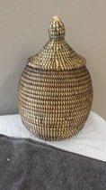 Decoratieve vaas zwart / opberg mand / bottle handgemaakt van zeegras