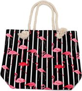 Gestreepte Strandtas met Flamingo's - 43x34 cm - Zwart - Dielay