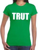 Trut tekst t-shirt groen dames XL