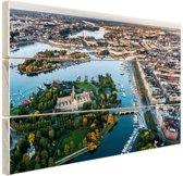 Luchtfoto van Stockholm Hout 60x40 cm - Foto print op Hout (Wanddecoratie)