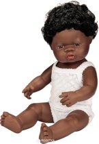 Miniland pop Afrikaans donker meisje badpop 38 cm