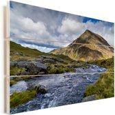 Stromende rivier en prachtige berg in Snowdonia Vurenhout met planken 90x60 cm - Foto print op Hout (Wanddecoratie)