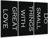 Glas schilderij Tekst | Zwart, Wit | 120x80cm 3Luik | Foto print op Glas |  F006861