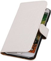 Wicked Narwal | Croco bookstyle / book case/ wallet case Hoes voor Samsung Galaxy E7 Wit