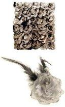 Zilveren deco bloem met speld/elastiek