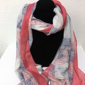 Fashionidea- Mooie roze zijde zachte sjaal met Parijs symbolische prints