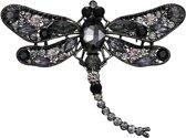 Fako Bijoux® - Broche - Libelle - XXL - 94x67mm - Zwart