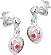The Jewelry Collection Oorhangers Hart Zirkonia - Zilver