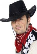 Zwarte cowboyhoed suede look