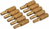 Silverline Gouden sleufschroevendraaier bits, 10 Stuks Zeskant, 4 m
