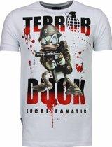 Local Fanatic Terror Duck - Rhinestone T-shirt - Wit - Maten: M