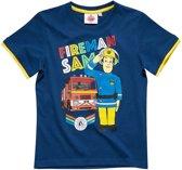 Brandweerman-Sam-T-shirt-met-korte-mouw-blauw - Maat 128