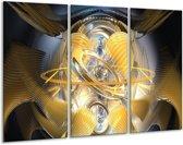 Glasschilderij Abstract   Geel, Goud, Bruin   120x80cm 3Luik   Foto print op Glas    F000961