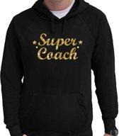 Super coach goud glitter cadeau hoodie zwart voor heren - zwarte supercoach sweater/trui met capuchon L