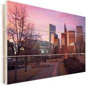 De binnenstad van Denver in Colorado bij een paarse zonsondergang Vurenhout met planken 30x20 cm - klein - Foto print op Hout (Wanddecoratie)