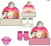 Paw Patrol roze fleece muts + handschoenen maat 54