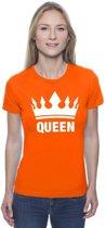 Oranje Koningsdag Queen shirt met kroon dames S