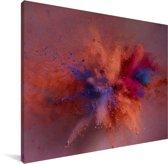 Kleurrijke poederpexplosie Canvas 160x120 cm - Foto print op Canvas schilderij (Wanddecoratie woonkamer / slaapkamer) XXL / Groot formaat!