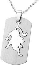 Fako Bijoux® - Ketting - RVS Hanger - Sterrenbeeld Open - Leeuw