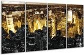 Glasschilderij Steden | Geel, Zwart, Wit | 160x80cm 4Luik | Foto print op Glas |  F003067