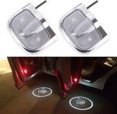 2 STKS LED Autodeur Welkom Logo Auto Merk Shadow Light Laser Projector Lamp voor PEUGEOT (zilver)