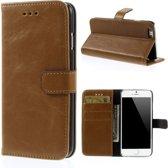 Javu - iPhone 6 / 6s Hoesje - Wallet Case Vintage Licht Bruin