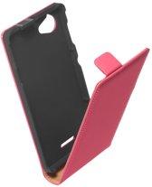 LELYCASE Premium Flip Case Lederen Cover Bescherm Hoesje Sony Xperia L Pink