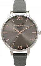 Olivia Burton Big Dial Sunray OB16BD90 - Horloge - Leer - Grijs - Ø 38 mm
