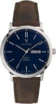 Renard Elite Day Date Blue Olive RD381SS40OGR - Horloge - Leer - Groen - 38,5mm