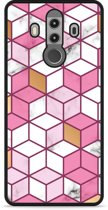 Huawei Mate 10 Pro Hardcase Hoesje Pink-gold-white Marble