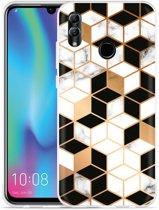 Huawei Honor 10 Lite Hoesje Black-white-gold Marble