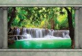 Fotobehang Waterfall Forest   XL - 208cm x 146cm   130g/m2 Vlies