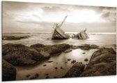 Schilderij | Canvas Schilderij Boot | Sepia | 120x70cm 1Luik | Foto print op Canvas