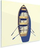 Luchtfoto van roeiboot op het strand Plexiglas 50x50 cm - Foto print op Glas (Plexiglas wanddecoratie)