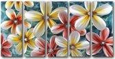 Schilderij aluminium vijfluik Bloemen 80x150cm